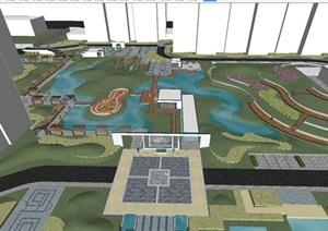 新中式小区整体景观设计方案SU(草图大师)模型
