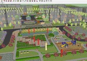 西安交大曲江新村小区景观设计方案SU(草图大师)模型