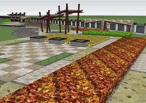 雄峰印刷厂景观设计方案SU(草图大师)模型