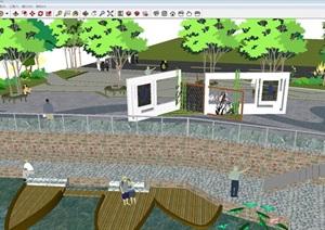 码头小广场景观设计方案SU(草图大师)模型