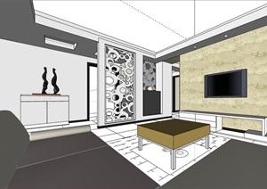 某現代詳細家裝室內空間裝飾設計SU(草圖大師)模型