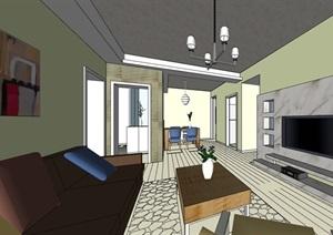 某精致家裝室內空間裝飾設計SU(草圖大師)模型