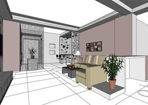現代家裝室內空間裝飾設計SU(草圖大師)模型