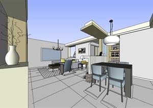 某現代家裝室內空間裝飾設計SU(草圖大師)模型