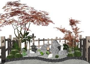 新中式景觀小品 庭院景觀 石頭仙人掌 植物 欄桿景觀樹SU(草圖大師)模型
