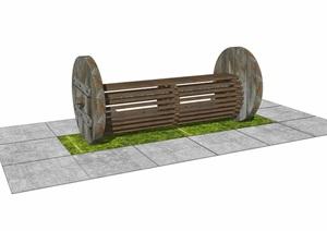 現代戶外座椅 公園景觀座椅 景觀座椅 鄉村景觀座椅SU(草圖大師)模型