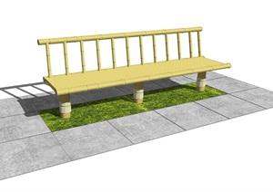 現代竹椅子 戶外景觀座椅 公園景觀座椅SU(草圖大師)模型