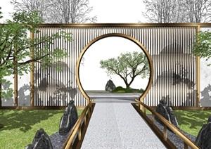 新中式景墻 景觀小品 庭院景觀 景觀樹 SU(草圖大師)模型