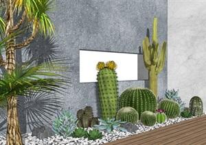 現代景觀小品 庭院景觀 仙人球 棕櫚植物SU(草圖大師)模型