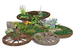 現代植物盆栽 鄉村景觀小品 民宿景觀 庭院景觀 木車輪 景觀小品SU(草圖大師)模型