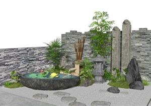 新中式景觀小品庭院景觀跌水景觀水景枯山水SU(草圖大師)模型