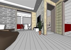 现代住宅家装室内装饰SU(草图大师)模型