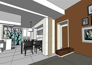 详细现代住宅家装室内装饰SU(草图大师)模型