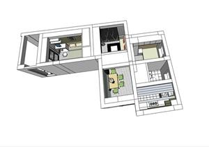 独特室内住宅家装室内装饰SU(草图大师)模型