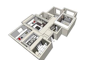 现代详细住宅家装室内装饰SU(草图大师)模型