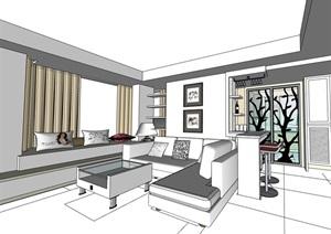 独特住宅家装室内装饰SU(草图大师)模型