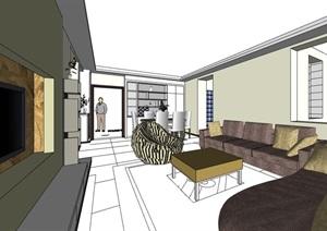 某独特现代住宅家装室内装饰SU(草图大师)模型