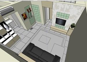 完整的现代住宅家装室内装饰SU(草图大师)模型