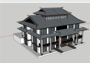 中式独栋开元棋牌APP下载完整的多层别墅SU(草图大师)模型