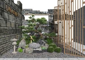新中式景观小品 庭院景观 跌水景观隔断景墙SU(草图大师)模型