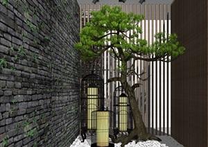 新中式景观小品庭院景观松树鸟笼灯SU(草图大师)模型