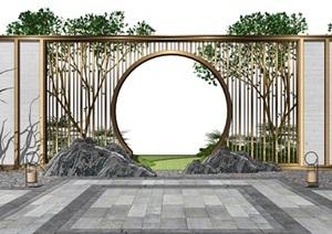新中式景墙 景观小品 庭院景观SU(草图大师)模型