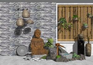 新中式景观小品 庭院景观 跌水景观 景墙 水景SU(草图大师)模型