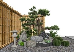 新中式景观小品 庭院景观 跌水景观隔断SU(草图大师)模型