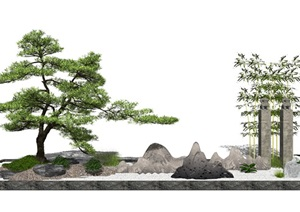 新中式景观小品 庭院景观 景观树 石头SU(草图大师)模型