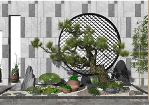 新中式庭院景观 景观小品 景观树 假山石头 盆栽 花盆 植物 景墙SU(草图大师)模型