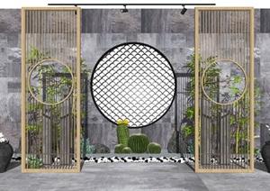 新中式庭院景观 景观小品 景观树 石头  仙人掌 植物 陶罐 花盆 景墙SU(草图大师)模型