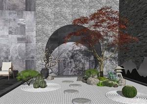 新中式庭院景观 景观小品 仙人球 石头 枯山水景观 禅意景观小品SU(草图大师)模型1