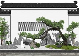 新中式景观小品 庭院景观 假山石头 树 佛像景墙SU(草图大师)模型