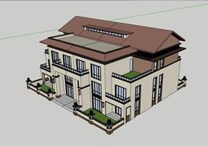 欧式双拼多层别墅建筑楼SU(草图大师)模型