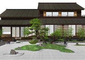 日式庭院景观 景观小品 日式建筑 枯山水 茶室建筑SU(草图大师)模型