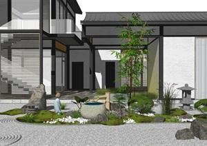 日式庭院景观 枯山水 景观小品 跌水景观 石头SU(草图大师)模型