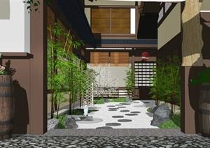 日式庭院景观 枯山水 景观小品 盆栽 石头 日式建筑SU(草图大师)模型