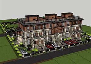 现代精致详细的住宅多层别墅SU(草图大师)模型