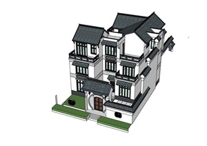 中式风格住宅多层别墅SU(草图大师)模型