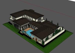 精致的独特住宅多层别墅SU(草图大师)模型