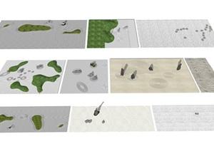 新中式枯山水 枯山石 石头 鹅卵石 景观小品SU(草图大师)模型