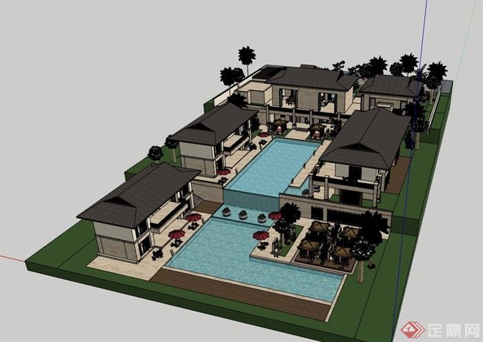 私人居住别墅素材建筑su模型