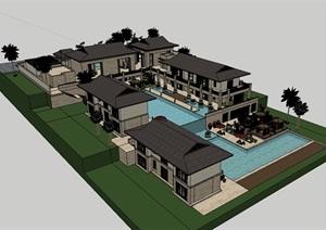 私人居住别墅素材建筑SU(草图大师)模型