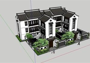 中式双拼居住别墅素材建筑SU(草图大师)模型
