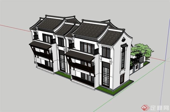 中式双拼居住别墅素材建筑su模型