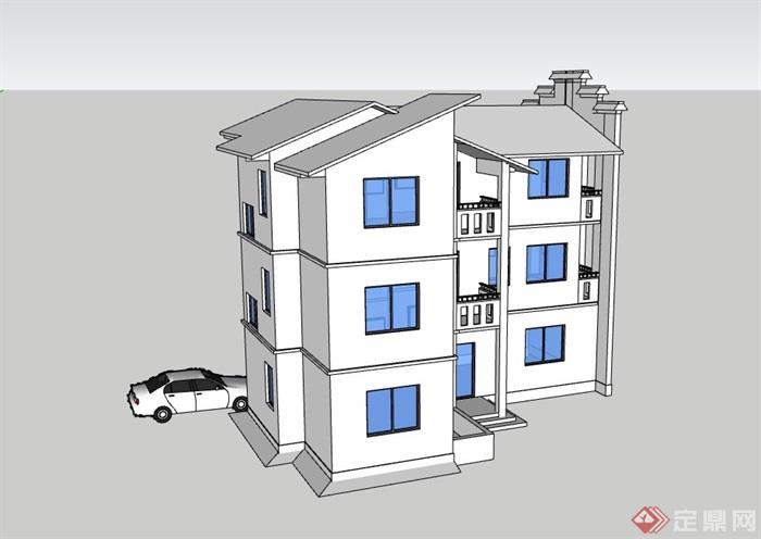 三层中式居住别墅素材建筑su模型