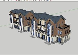 英式精致的居住别墅素材建筑SU(草图大师)模型