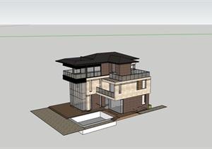 独栋住宅居住别墅素材建筑SU(草图大师)模型