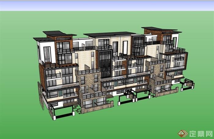 详细的完整居住别墅素材建筑su模型