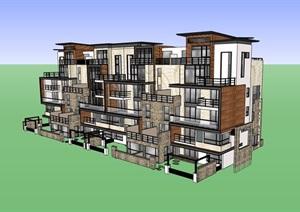 详细的完整居住别墅素材建筑SU(草图大师)模型